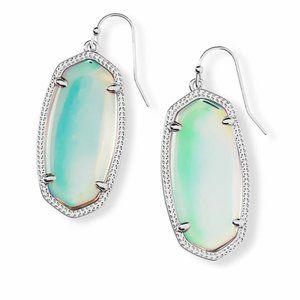 Elle Silver Drop Earrings In Dichroic Glass